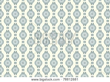 Silver Retro Flower And Leaves And Lobe Pattern On Pastel Background