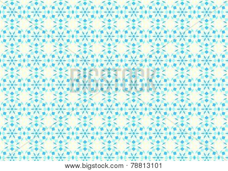 Blue Abstract Flower Ball And Rhomboid Pattern On Pastel Background