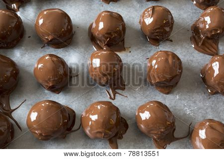 A Christmas favorite, homemade peanut butter chocolate balls. A mixture of peanut butter, nuts, sugar and other sweet stuff and then dipped in chocolate.