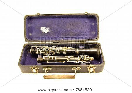 Antique Clarinet Musical Instrument In Old Grunge Case