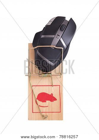 Modern Computer Mouse In A Mousetrap