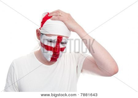 England Fan Looking Upset