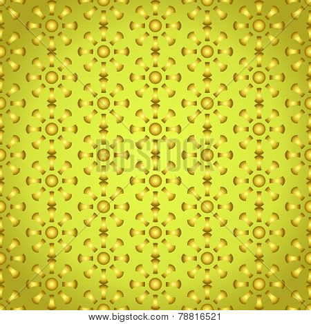 Gold Retro Bone And Circle Pattern On Pastel Color