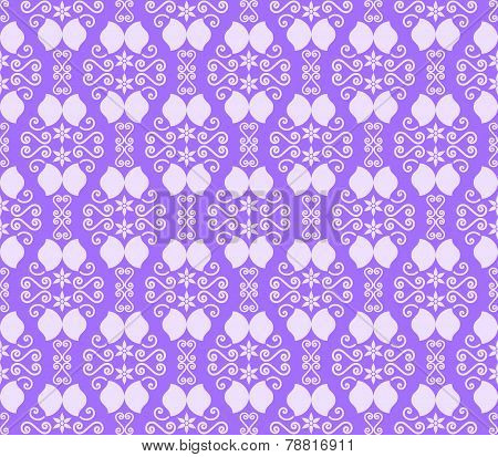 Purple Vintage Flower And Swirl Pattern In Classic Style