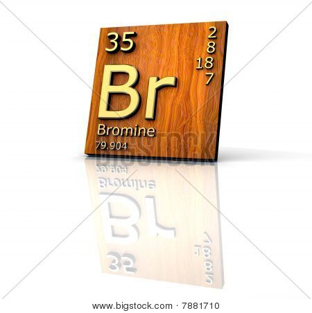 Bromine Form Periodic Table Of Elements - Wood Board