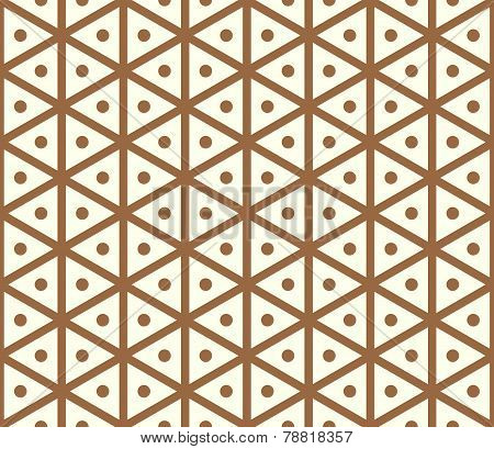 Brown Vintage Hexagon And Circle Pattern On Pastel Color