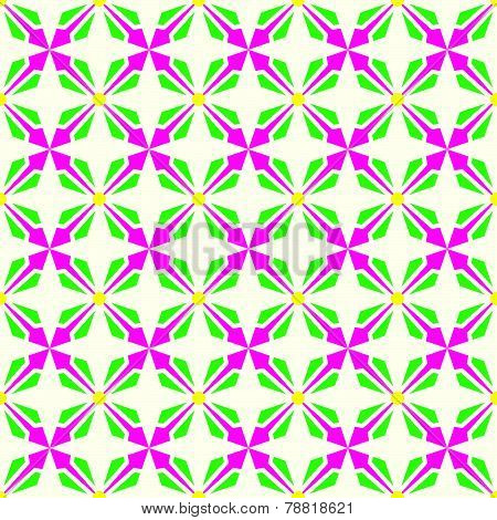 Pink And Green Abstract Rectangle And Arrow And Circle Shape Seamless Pattern