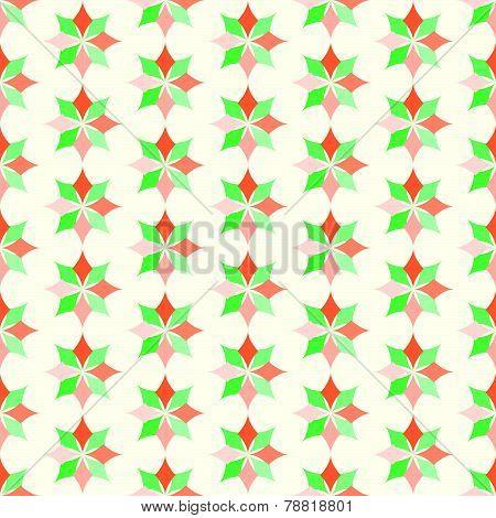 Orange And Green Classic Rhomboid Flower Seamless Pattern