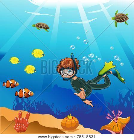 Diver swims in the ocean