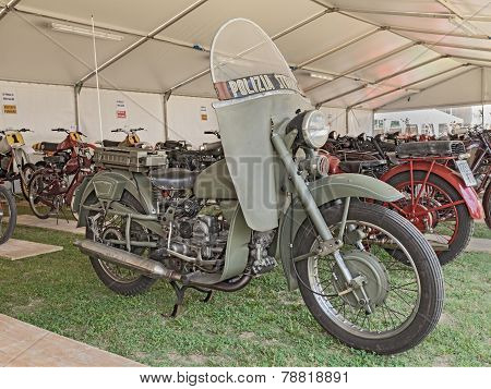 Old Moto Guzzi Falcone Belonged To The Italian Traffic Police