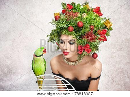 Beautiful creative Xmas makeup and hair style indoor shot. Beauty Fashion Model Girl. Winter