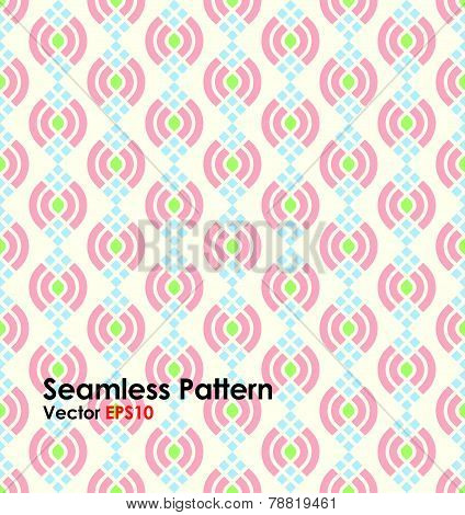 Pink Abstract Lotus Seamless Pattern On Pastel Background