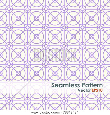 Purple Circle And Square And Hexagon Seamless Pattern