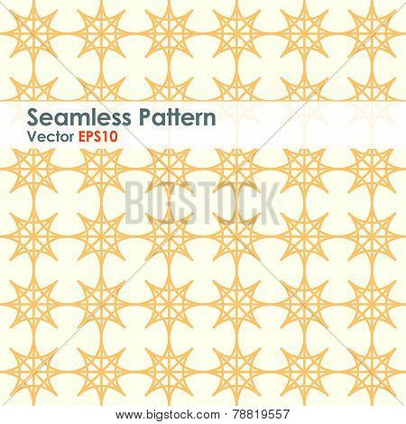 Orange Double Star And Circle Seamless Pattern On Pastel Color