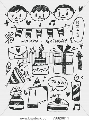 Birthday Elements Doodles Hand Drawn Line Icon, Eps10