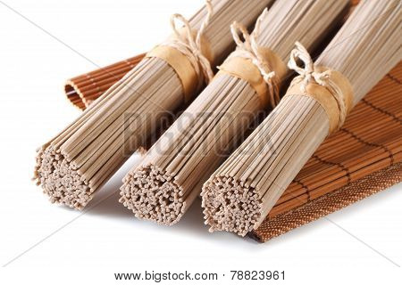 Unch Raw Buckwheat Soba Noodles Close Up Isolated