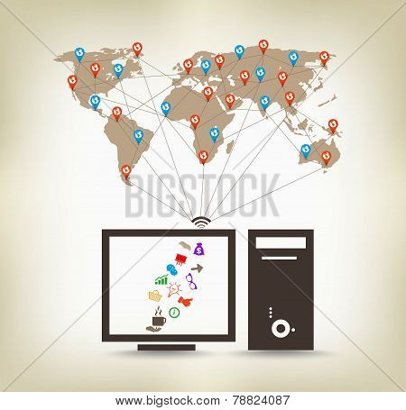 Global  computer communication concept stock