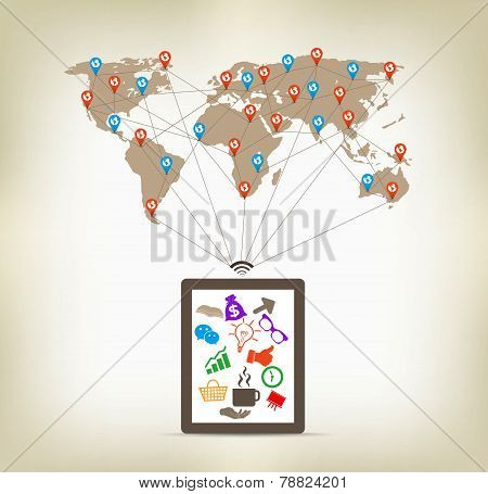 Global tablet communication concept stock