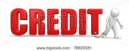Man and credit (clipping path included)