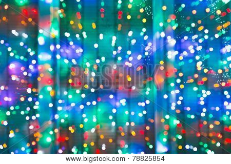 Blurred Christmas Lights On Window