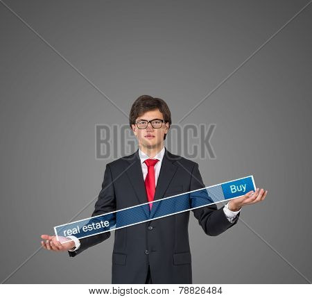Businessman Hand Holding Search