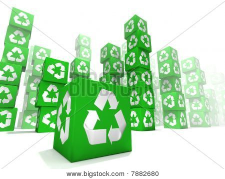 Many box stacking with white and green recycle sign