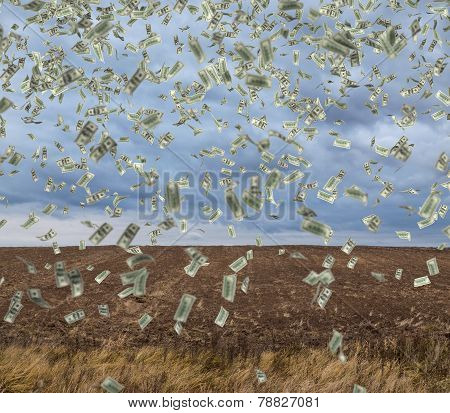 Falling Money On Field