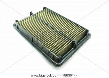 Dirty Car Air Filter On White Background