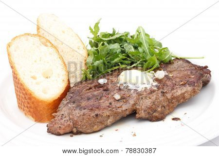 Perfect roast pork rib eye steak