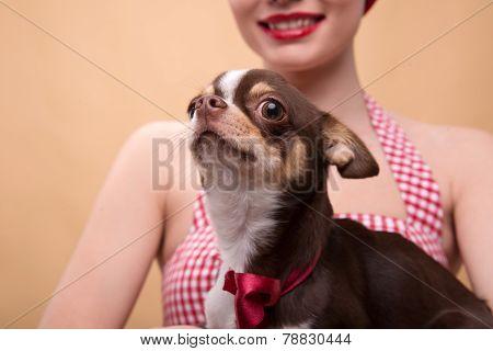 Pretty brunette  girl in retro style