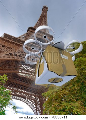 3D rendering of a commercial drone carrying a box by the Eiffel Tower