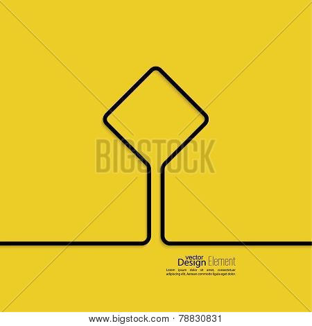 Abstract yellow background with black signs.