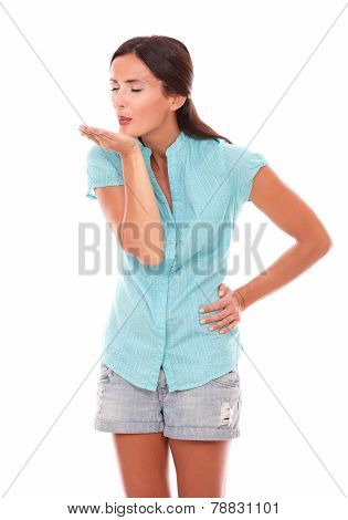 Charming Lady With Palm Up And Eyes Closed