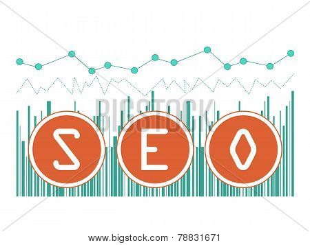 Vector Illustration Concept Of Seo Word On Graph Background