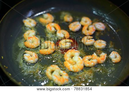 Shrimps Are Fried In A Frying Pan