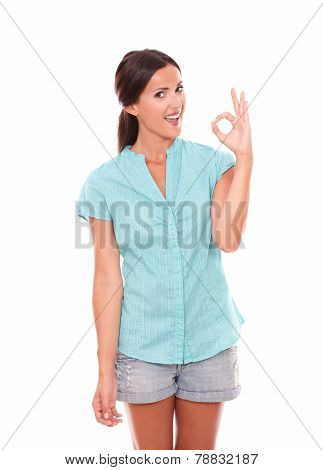 Happy Hispanic Female Gesturing A Great Job