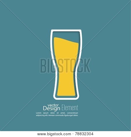 Beer glass with yellow liquid
