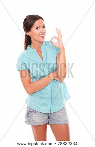 Friendly Female Gesturing A Great Job