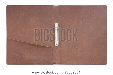 Leather folder cover on white background.