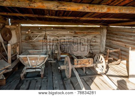 Wooden cart and other stock in museum