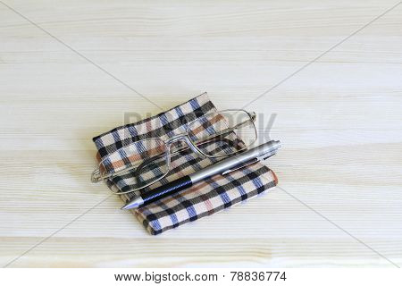 Glasses, Pen And Handkerchief