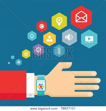Smart watch with icons - vector concept illustration in modern flat style design. Vector flat illust