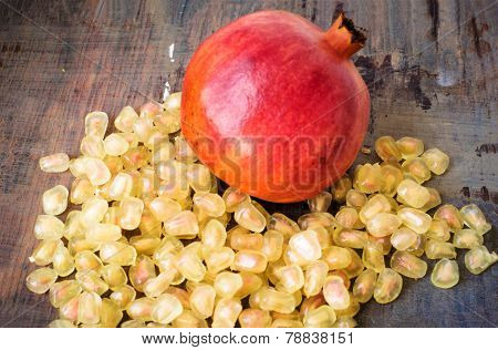 Ripe Pomegranate With White Seeds