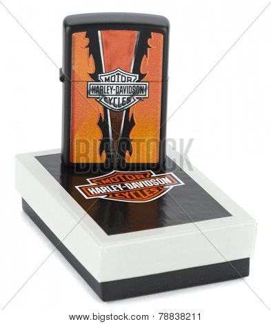 Ankara, Turkey - December 10, 2014: Zippo reusable metal lighter with Harley Davidson theme on its original box isolated on white background.