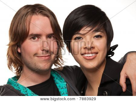 Diverse Caucasian Male And Multiethnic Female Portrait