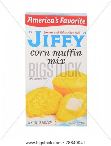 Los Angeles,California Dec 9th 2014: Nice Image of a ready to make Jiffy Corn Muffin Mix.