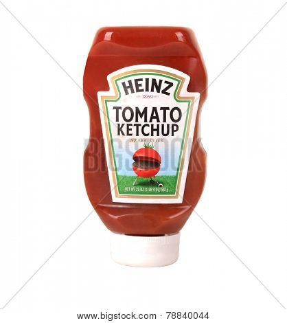Los Angeles,California Dec 9th 2014: Nice isolated Bottle of Heinz Catchup