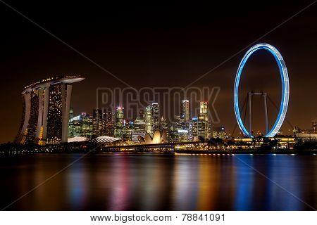 Long Exposure Of Singapore Skyline