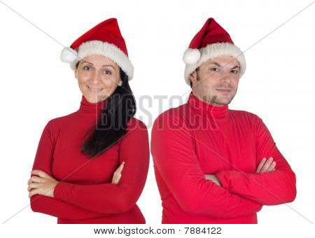 Couple With Red Clothing In Christmas