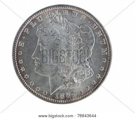 Toned American Silver Dollar Isolated On White